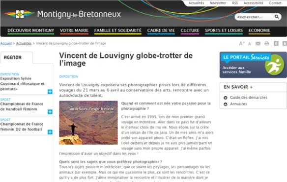 Article sur le site web de la ville de Montigny le Bretonneux
